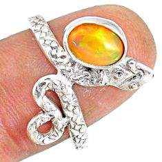 2.17cts natural multi color ethiopian opal 925 silver snake ring size 8 r78755