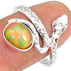 3.29cts natural multi color ethiopian opal 925 silver snake ring size 9 r78743