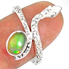 1.96cts natural multi color ethiopian opal 925 silver snake ring size 9 r78746