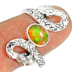 2.01cts natural multi color ethiopian opal 925 silver snake ring size 9 r78754