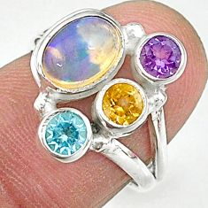 4.03cts natural multi color ethiopian opal amethyst silver ring size 6 t8841