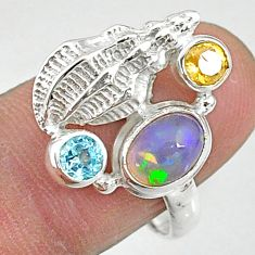 2.91cts natural multi color ethiopian opal citrine 925 silver ring size 8 t8845