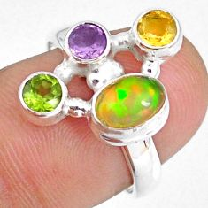 3.83cts natural multi color ethiopian opal citrine silver ring size 7.5 r59181