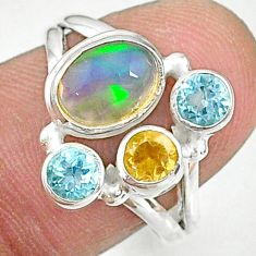 3.83cts natural multi color ethiopian opal citrine silver ring size 7.5 t8818