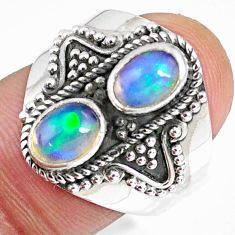 3.13cts natural multi color ethiopian opal oval 925 silver ring size 8 r59260
