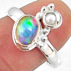 2.69cts natural multi color ethiopian opal pearl 925 silver ring size 8 r65572