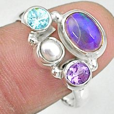 4.21cts natural multi color ethiopian opal pearl 925 silver ring size 8.5 t8826