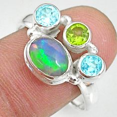3.19cts natural multi color ethiopian opal peridot silver ring size 9.5 t8816