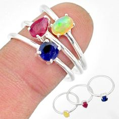 3.14cts natural multi color ethiopian opal ruby 925 silver 3 rings size 8 r85168