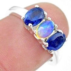 2.95cts natural multi color ethiopian opal sapphire silver ring size 6 t21259