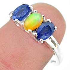 2.95cts natural multi color ethiopian opal sapphire silver ring size 7 t21250