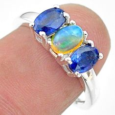 3.15cts natural multi color ethiopian opal sapphire silver ring size 7 t21253