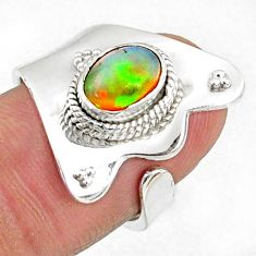 1.96cts natural multi color ethiopian opal silver adjustable ring size 6 r65544