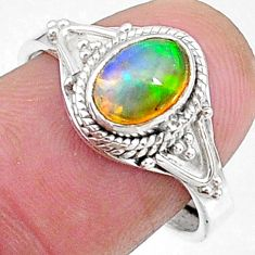 2.15cts natural multi color ethiopian opal silver adjustable ring size 8 t8531