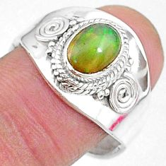 2.09cts natural multi color ethiopian opal silver adjustable ring size 8 t8536