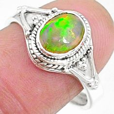 2.14cts natural multi color ethiopian opal silver adjustable ring size 8 t8539
