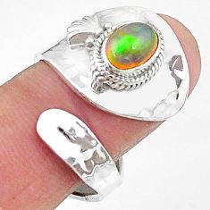 2.20cts natural multi color ethiopian opal silver adjustable ring size 8 t8558