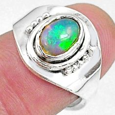 2.37cts natural multi color ethiopian opal silver adjustable ring size 6.5 t8525