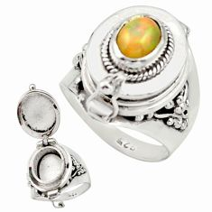 2.12cts natural multi color ethiopian opal silver poison box ring size 7 r26653