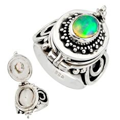 3.08cts natural multi color ethiopian opal silver poison box ring size 7 r26658
