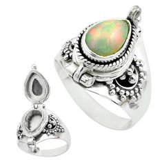 2.18cts natural multi color ethiopian opal silver poison box ring size 7 t52855