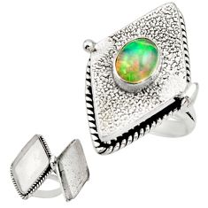 2.08cts natural multi color ethiopian opal silver poison box ring size 8 r26641