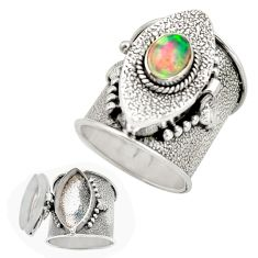 2.29cts natural multi color ethiopian opal silver poison box ring size 8 r26650