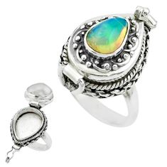2.39cts natural multi color ethiopian opal silver poison box ring size 8 t52853