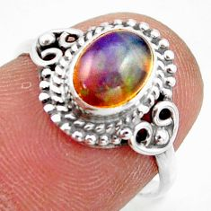 2.23cts natural multi color ethiopian opal silver solitaire ring size 6.5 r41411