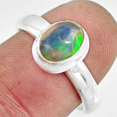 2.23cts natural multi color ethiopian opal silver solitaire ring size 7 r26332
