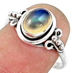 2.42cts natural multi color ethiopian opal silver solitaire ring size 8 r41373