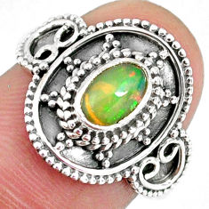 1.56cts natural multi color ethiopian opal silver solitaire ring size 8 r59175