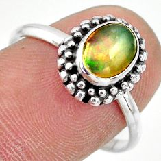 2.39cts natural multi color ethiopian opal silver solitaire ring size 9 r41381