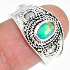 1.47cts natural multi color ethiopian opal silver solitaire ring size 9 r59029