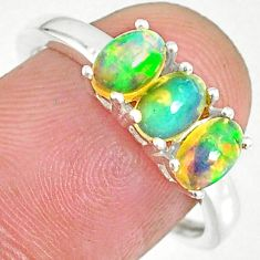 2.73cts natural multi color ethiopian opal sterling silver ring size 8 r83973