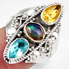 4.82cts natural multi color ethiopian opal topaz 925 silver ring size 7.5 d46194
