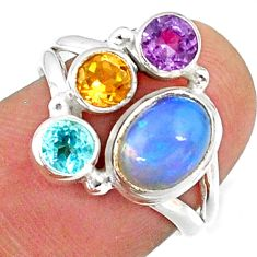4.25cts natural multi color ethiopian opal topaz 925 silver ring size 6.5 r65565