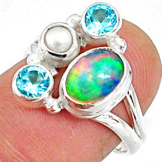 3.68cts natural multi color ethiopian opal topaz 925 silver ring size 6.5 r65566