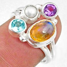 4.47cts natural multi color ethiopian opal topaz 925 silver ring size 6.5 r65570