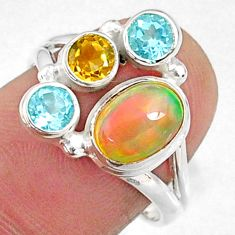 4.17cts natural multi color ethiopian opal topaz 925 silver ring size 7 r65576