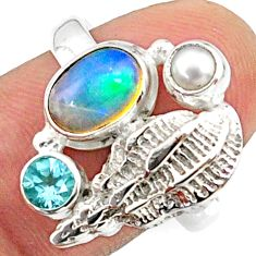 4.22cts natural multi color ethiopian opal topaz 925 silver ring size 8 r65574