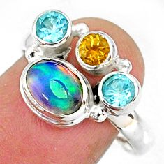 3.65cts natural multi color ethiopian opal topaz 925 silver ring size 9 r65563