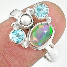 4.03cts natural multi color ethiopian opal topaz 925 silver ring size 9.5 t8846