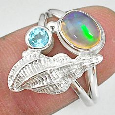 2.52cts natural multi color ethiopian opal topaz 925 silver ring size 7.5 t8859