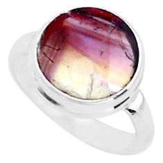 5.79cts natural multi color fluorite 925 silver solitaire ring size 7 t14860