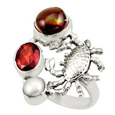 7.13cts natural multi color mexican fire agate silver crab ring size 8 d47424