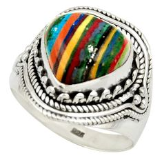 7.32cts natural multi color rainbow calsilica 925 silver ring size 9 d47351
