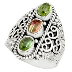 3.03cts natural multi color tourmaline 925 sterling silver ring size 7.5 r22508