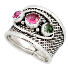 2.50cts natural multi color tourmaline 925 sterling silver ring size 7 d45929