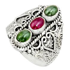 3.13cts natural multi color tourmaline 925 sterling silver ring size 9 r22501